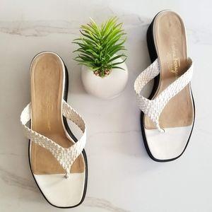 SALVATORE FERRAGAMO White Woven Wedge Sandals